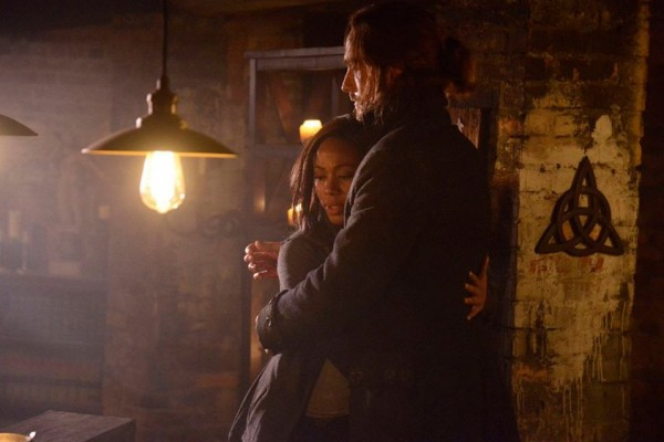 Ichabod and Abbie embrace on Sleepy Hollow.