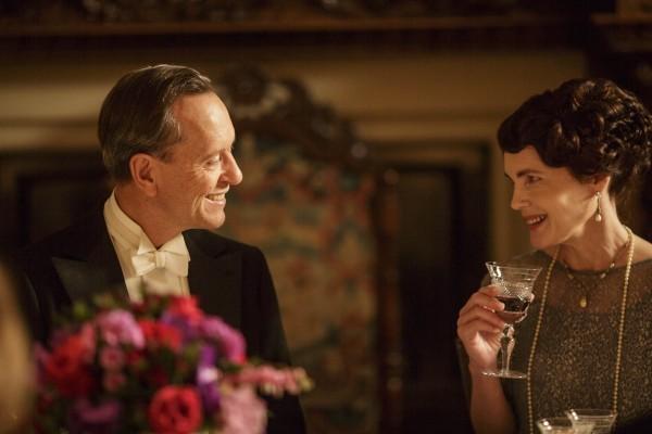 Cora flirts with Simon Bricker over dinner on Downton Abbey